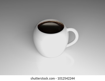 Cup of coffee on white background 3d rendering