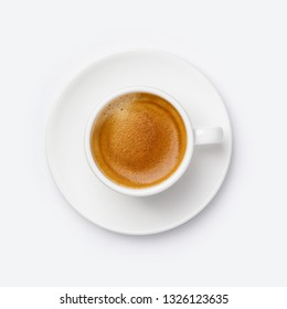 Cup of coffee on white background, flat lay