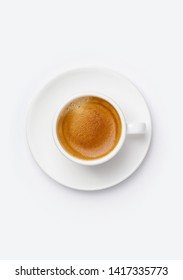 Cup of coffee on white background, top view