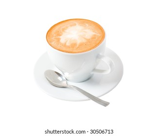 Cup of coffee on a white background .clipping Path