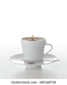 a cup of coffee on white background