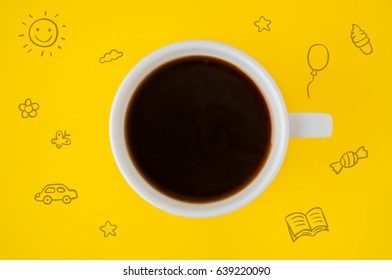 A cup of coffee on a yellow background and hand drawn icons
