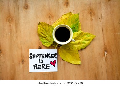 Cup of coffee over autumn leaves and September is here text on a note on wooden table