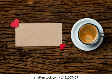 Cup of coffee with paper heart. Father's day card concept and valentine's day, copy space for text.