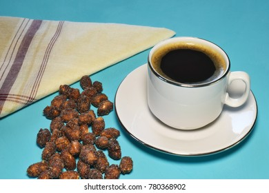 a cup of coffee with peanut