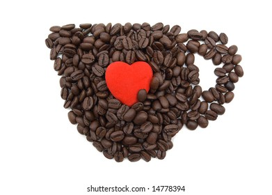Cup of coffee with read heart inside