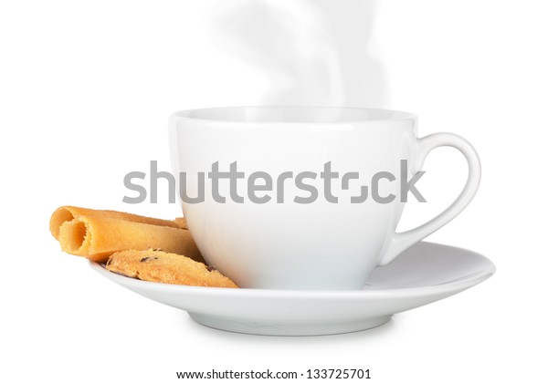 Cup of coffee with roll shaped cookies on a wooden table