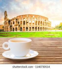 Cup of coffee in Rome with view of Colloseum, Italy