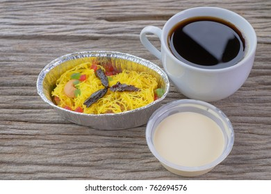 Cup of coffee and Royal Pudding  or 'Puding Raja' is a famous dessert from Pekan, Pahang, Malaysia.