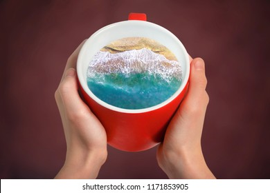 Cup of coffee with the sea inside. Creative idea