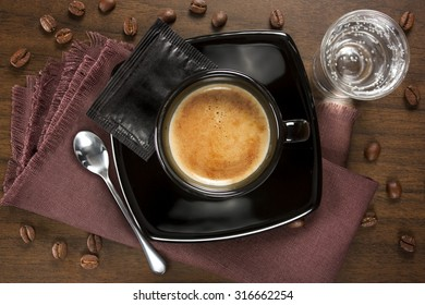 Cup of coffee served Italian-style