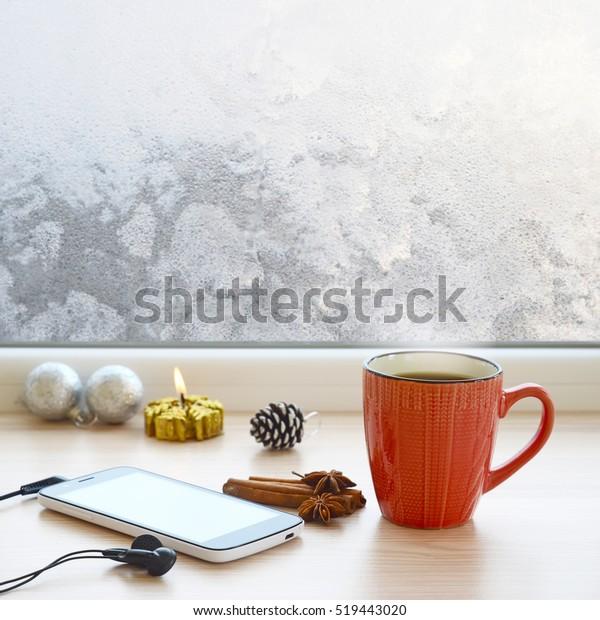 Coffee Christmas Tree Ornaments.Cup Coffee Smartphone Headphones Christmas Tree Stock Photo