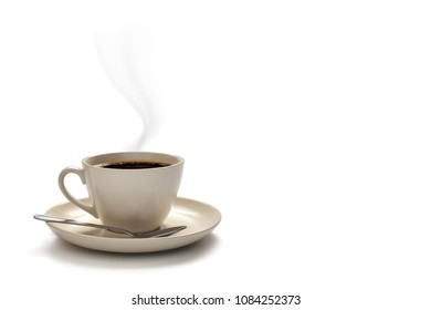 Cup of coffee with smoke isolated on white background