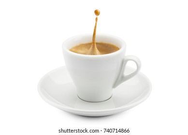 cup of coffee with splashing on white background