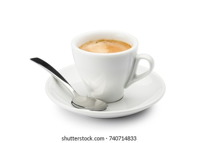 cup of coffee with spoon on white background
