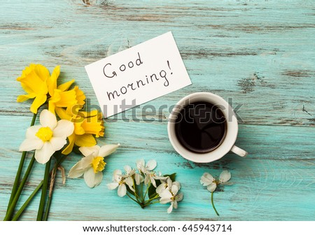 Cup Coffee Spring Flowers Inscription Good Stock Photo Edit Now