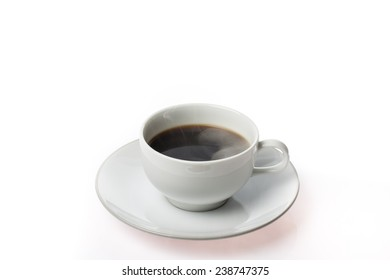 Cup of coffee with steam on white background