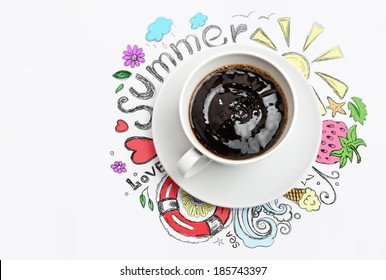 Cup of coffee summer vacation planning concept