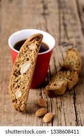 Cup of Coffee and Tasty Traditional Italian Sweets Biscotti or Cantucci on Wooden Background Italian Biscotti for Coffee or Wine Italian Snack Vertical