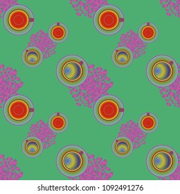 Cup of coffee or tea on beans background seamless pattern.