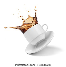 a cup of coffee, tea, splashes