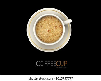 A Cup of Coffee, top view, realistic 3d Illustration isolated black.