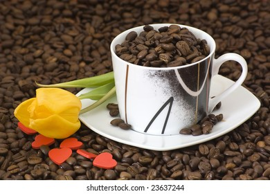 cup of coffee and tulip
