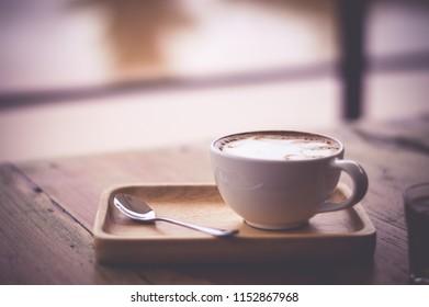 Cup of coffee vintage tone.