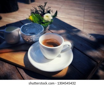 Cup and coffy on the table, flat lay