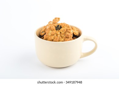 Cup of delicious cookies for background.