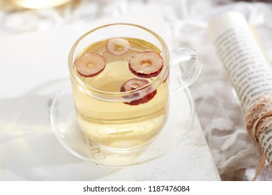 a cup of dried red jujube dry scene