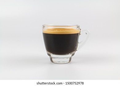 Cup of espresso coffee on white background.