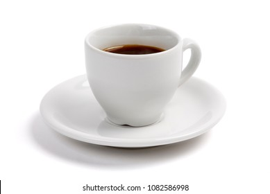 A cup of expresso coffee, in a white cup and saucer, on a white background with a drop shadow