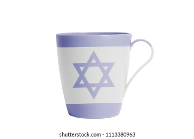 Cup with Flag of Israel isolated on white background