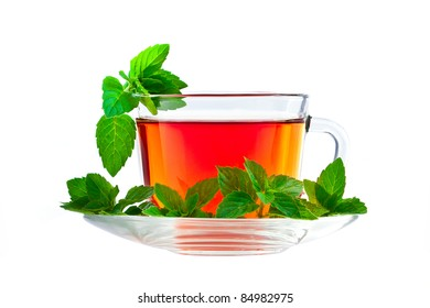 Cup of fragrant tea with fresh leaves of green tea isolated