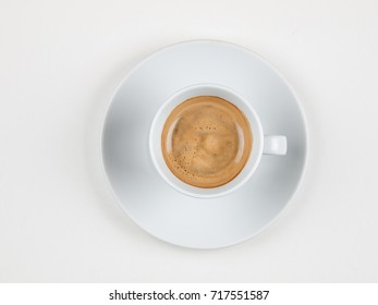Cup of fresh brewed espresso coffee cup, isolated on white background