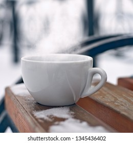 Cup of fresh hot coffee. Drink it now, enjoy the taste and scent