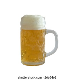 Cup of fresh light beer with rich foam isolated (with clipping path)