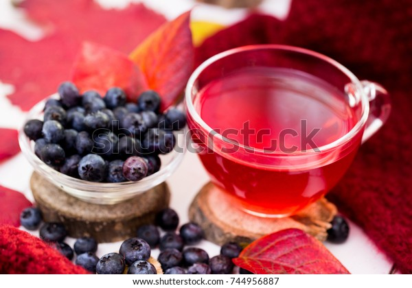 Cup Fruit Tea Blueberries On Red Stock Photo (Edit Now) 744956887