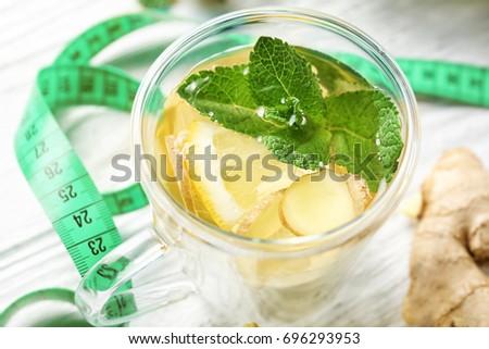 Cup Ginger Tea Lemon Mint Measuring Stock Photo Edit Now 696293953