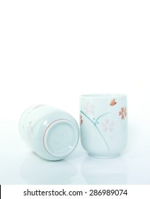 cup glass tile on white background