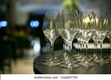 Cup glasses with a round table, close-up