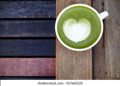 A cup of green tea matcha latte