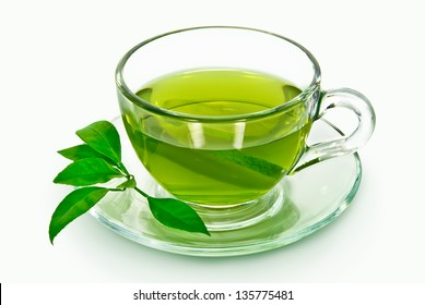 A cup of green tea on a white background