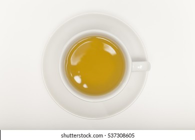 Cup of green tea top view