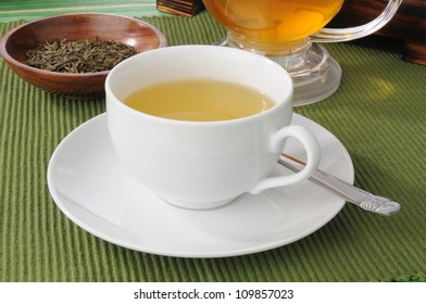 A cup of green tea with whole leaves in a sample dish