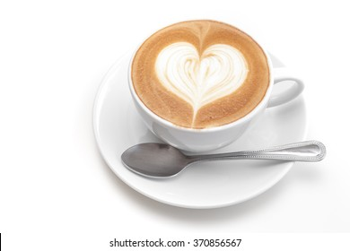 A cup of heart coffee on white background
