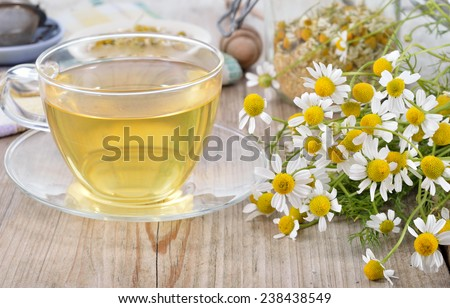 Cup of herbal chamomile tea on a wooden table. Chamomile tea in a transparent cup and camomile flowers on wooden table. Herbal tea for baby's stomach. Copy space.