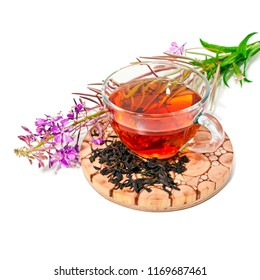 Cup of herbal tea with blooming Chamerion angustifolium (common names: fireweed, great willowherb, rosebay willowherb) isolated on white background