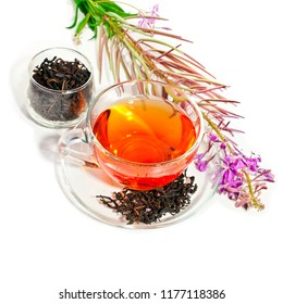 Cup of herbal tea and glass bowl with tea of blooming Chamerion angustifolium (common names: fireweed, great willowherb, rosebay willowherb) isolated on white background